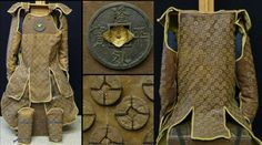 Tatami armor constructed with coins sewn to a leather backing.