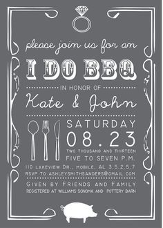 Printable Custom Personalized I Do BBQ Invitation, Bridal or Couples Shower, Invitation Design, Pig, BBQ Shower, Wedding Shower