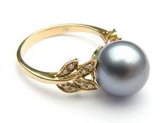 Black Tahitian Pearl Ring, 10-12mm AAA - Pearl Rings - Pearl Hours