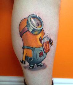 http://tattooideas247.com/minion/ Minion Tattoo #Drink, #Drinking, #LegTattoo, #Minion