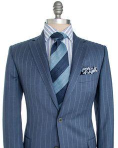 Belvest   Blue Grey Stripe Suit   Apparel   Men's