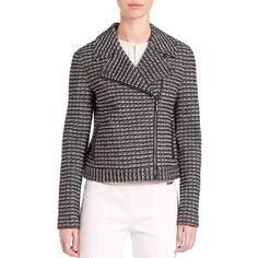 Tory Burch Raffia Cotton-Blend Moto Jacket ($520) ❤ liked on Polyvore featuring outerwear, jackets, apparel & accessories, tory burch jacket, moto jacket, motorcycle jacket, black motorcycle jacket and biker jacket