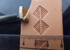 012-05 FISH BONE pattern Leather stamp homemade Custom by Toolpaw