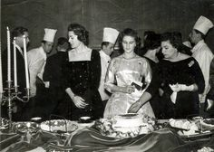 Her Highness Princess virtuous fiancee of King Faisal II and to the right of her mother Princess هانزادة in the ceremony held to be feted in Baghdad in 1957 by the President of the Federation of Ms. Asia Tawfiq Wahbi