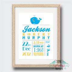 Whale Birth Stat Nursery Print $27.00 spunkandheart.com #wallart #nursery #interiornurserydesign #nurserydesign #birthstatprint