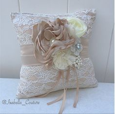 Champagne Lace Ring Bearer Pillow for by IsabellaCoutureShop