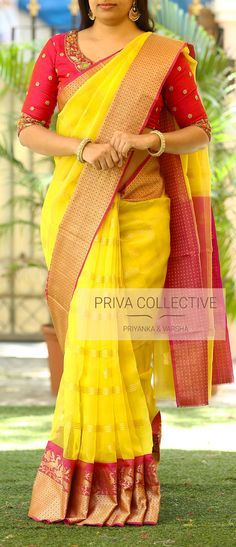 PV 3646 : Yellow Price : Rs 5200Bring in this light weight organza sari in colours that look best when combined. Yellow checkered self patterned organza finished with purple rich zariUnstitched blouse piece : running blouse piece / Maggam blouse as displayed is available at additional cost For Order 28 March 2018