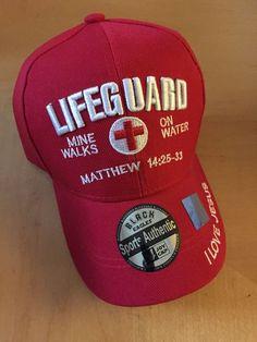 Lifeguard Mine Walks On Water Matthew Christian Red Baseball Cap in Hats Reds Baseball, Baseball Cap, Christian Hats, Walk On Water, Lifeguard, Inspirational Gifts, Beanies, Walks, Prayers