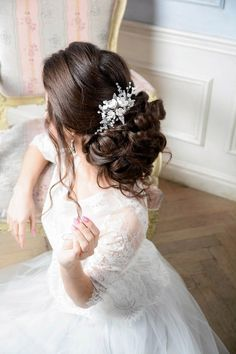 Pearl Bridal hair comb Wedding hair comb Bridal by NevaBridal Wedding Hair Peices, Hair Comb Wedding, Headpiece Wedding, Bridal Headpieces, Bridal Updo, Pearl Bridal, Floral Headpiece, Or Rose, Hair Pieces