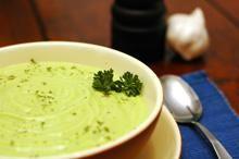 Cream of Avocado Soup with creme fraiche garnish :)