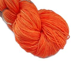 Orange 2 Soft SUperwash Handdyed Bluefaced Leicester - Nylon Wool Fingering Sock Weight Yarn 3-ply For Knitting and Crochet , EU Seller