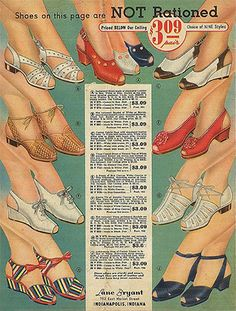 07 Feb 43: To conserve leather and rubber, shoe rationing begins in the US, limiting civilians to three pairs of leather shoes per year. As a result, shoe styles made of fabric and jute with wooden wedge heels become very popular with women. More: http://scanningwwii.com/a?d=0207&s=430207 #WWII