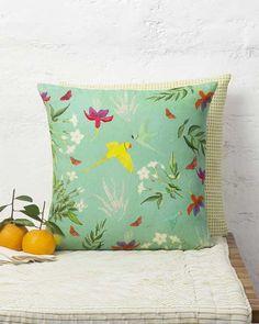 Verandah Botanical Cushion - Aqua
