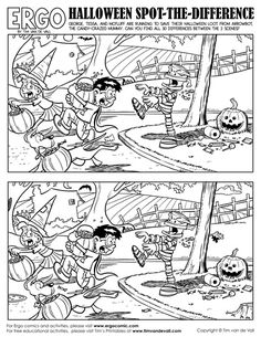 Halloween Spot-the-Difference! Can you find 30 differences between the 2 scenes? Halloween Spot-the-Difference! Can you find 30 differences between the 2 scenes? Halloween Puzzles, Halloween Worksheets, Halloween Activities For Kids, Fun Activities, Halloween Season, Holidays Halloween, Halloween Fun, Spot The Difference Printable, Find The Difference Pictures