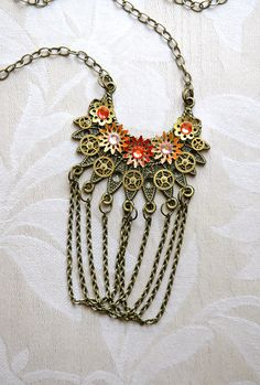 Steampunk Necklace - Steampunk Tribal Draped Chain with Watch Gears and Enamel Flowers - Steampunk Gypsy