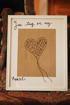 Dry Erase marker on glass, backing in burlap. Memo board
