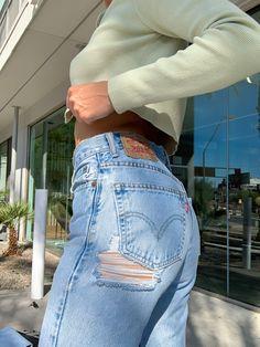Vintage Levi Jeans - 100% Authentic Jeans. Custom Distressing Available. 100% Cotton 501 550 512 jeans, high waisted denim, boyfriend jeans, light distressing, medium distressing, heavy distreasing available. Teen Jeans, Denim Outfit, Levi Strauss, Vintage Levis, Levis Jeans, High Waist Jeans, Boyfriend Jeans, How To Look Better, Waisted Denim