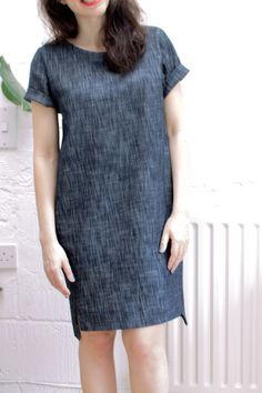 Denim Inari tee dress from Randomly Happy | I love how simple and elegant this is - I think it would look amazing in a light linen fabric