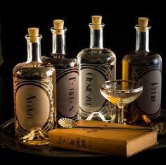 Cool custom etched booze bottles - Spirit Decanters The Variance set of 4 by ReclamationEtchworks