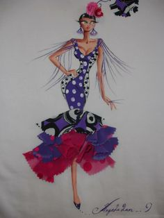 FLAMENCA Embroidery Works, Embroidery Applique, Spanish Dancer, Illustrations, Applique Designs, Fabric Painting, Fashion Sketches, Fashion Art, Fabric Design