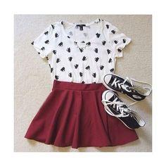Elastic Pleated Deep Red Flare Skirt ❤ liked on Polyvore featuring skirts, pleated skirt, elastic skirt, flared skirt, pleated skater skirt and skater skirt