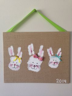 Bunny handprints- made from burlap canvas and acrylic paint