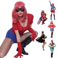 Womens Super Hero Batgirl Spider Woman Sexy Robin Costume Heroine Fancy Dress
