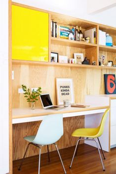 Get Naked: The Unfinished Wood Trend via @domainehome // Plywood desk, colorful workspace.
