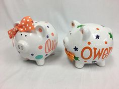 Personalized ceramic Piggy Bank with name flowers and polka