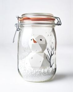 DIY IDEA- Paper Snowman in a jar - snowglobe