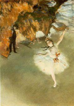 踊りの花形(エトワール、又は舞台の踊り子)  エドガー・ドガ、 1876-1877年頃 (L'étoile de la danse (L'étoile ou danseuse sur scène)) 60×44cm  パステル、厚紙