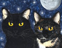 Strangeling's Felines - Black Cat Tortie Cat  - Fine Art America Pixels, Carrie-Hawks.Pixels.com Copyright - Carrie Hawks, Tigerpixie Fantasy Cat Art. More Prints, Jewelry & Gift Items featuring this image are available on my website - Tigerpixie.com