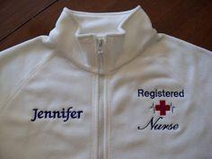 Registered Nurse White Fleece JacketFree by jennyfarrel on Etsy, $39.50