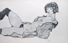 Egon Schiele, Reclining Nude with Green Stockings