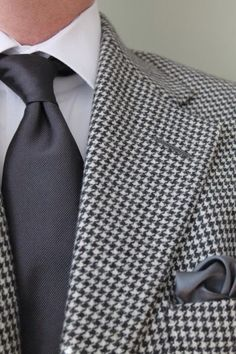 White shirt, charcoal tie, grey houndstooth blazer, p square, casual Friday