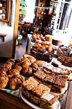 shelves of baked things, Pannikin Coffee and Tea, California