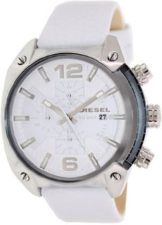 Information Brand:DieselCode:Diesel DZ4315Gender:MensMovement:Quartz Case Diameter:49 mmCase Thickness:13 mmCase Material:White (Calfskin) LeatherCrown:Pull / PushCase Shape:RoundCase Back:SolidBezel Material:Fixed Dial Crystal:Scratch Resistant MineralHands:Silver-toneSecond Markers:Arabic Numerals mark the 6 and 12 o'clock positions.Dial Color:White Bracelet Band Width:24 mm Features Water Resistance:100 meters / 330 feetFunctions:Chronograph, Date, Hour, Minute…