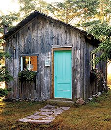 Rustic Turquoise Cabin Door: Ashdale, Nova Scotia, Canada