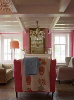 Pretty in Pink + coffered ceiling
