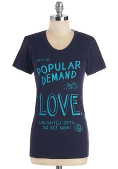 And the Heartbeat Goes On Tee. Love is everlasting, as is your adoration of this navy-blue tee by MNKR! #blue #modcloth
