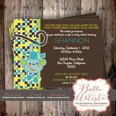 Monkey Baby Shower Invitation, Safari Jungle Themed Invite by BellaArtista Invitations -www.bellaartista.com : $15.00