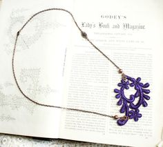 lace necklace MARYANN purple by tinaevarenee on Etsy, $30.00