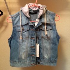Denim Vest with Hoodie Great condition and never worn. Price is firm, no trades. Jackets & Coats Vests