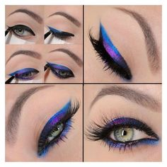 Electric Blue Purple Eyeliner Tutorial ❤ liked on Polyvore featuring beauty products, makeup, eye makeup and eyeliner