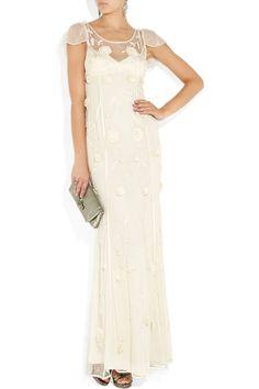 Scoop net dress with natural waist