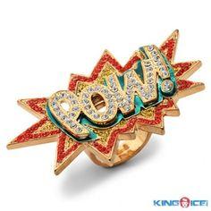 Gold Plated Batman POW ! Hip Hop Ring