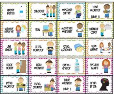 classroom jobs printable | water patrol (2), caboose, message carrier, table monitor 1-4, weather ...