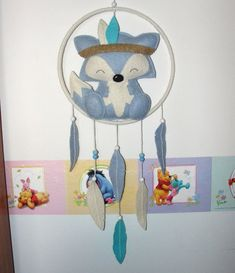 Wool Felt Fox Dream Catcher, Room Decor, Wall Decor, Felt Fox, Baby, Nursery Decor, Boy Gift, Baby Shower, Dreamcatcher, Baby Mobile