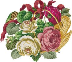 Cross Stitch Embroidery, Cross Stitch Patterns, Bouquet, English Roses, Love Painting, Beautiful Roses, Needlepoint, Fabric Design, Floral Wreath