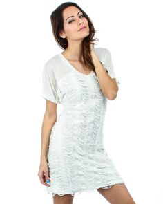 IVORY DISTRESSED TUNIC DRESS